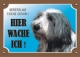 Warnschild Bearded Collie